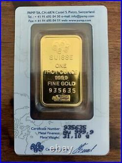 1 oz PAMP Gold Suisse Lady Fortuna Bar. 9999 Fine Sealed In Assay