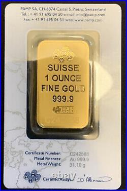1 oz. PAMP Suisse Gold Bar. 9999 Fine in Sealed Assay Card