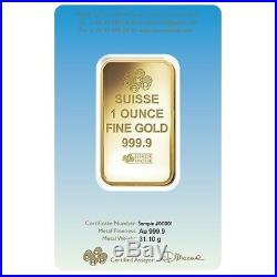 1 oz PAMP Suisse Gold Bar Lakshmi (in Assay). 9999 Fine