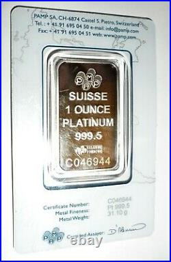 1 oz PAMP Suisse Lady Fortuna Platinum Bar. 9995 Fine In Sealed Assay Card