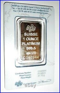 1 oz PAMP Suisse Platinum Bar. 9995 Fine In Sealed Assay Card