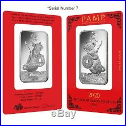 1 oz PAMP Suisse Year of the Mouse / Rat Platinum Bar (In Assay) Serial #7