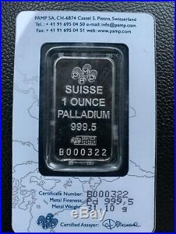 1 oz. Palladium Bar PAMP Suisse 999.5 Fine Sealed. Cert # B000322