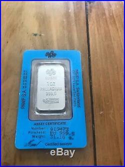 1 oz. Palladium Bar PAMP Suisse Fortuna 999.5 Fine in Vintage Sealed Assay