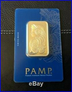 1 oz Pamp Suisse Gold Bar Lady Fortuna Veriscan