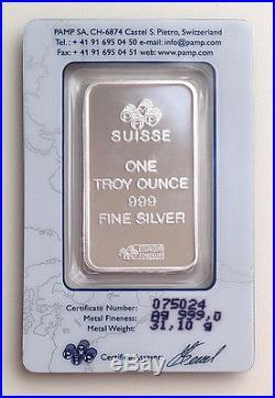 1 oz Pamp Suisse Lady Fortuna. 999 Fine Silver Bar Classic Design In Assay