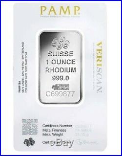 1 oz. Rhodium Bar Pamp- 999.0 Fine in Assay Blue Card
