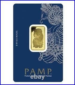 10 G. Gold Bar 999.9 Pamp Swizrland 24 Ct. With Certificate & Invoice