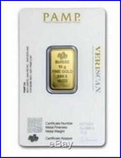 10 Gram Gold Bar Pamp Suisse In Mint Assay Card
