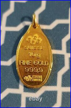 10 Gram PAMP SUISSE Fortuna GOLD Oval Bar with pendent NO Reserve