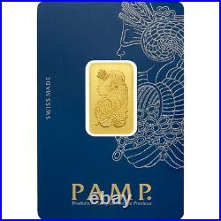 10 Gram Pamp Suisse. 999 Lady Fortuna Bar Pendant 27MMX16MM Encased in 14k Gold