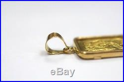 10 Gram Pamp Suisse Lady Fortuna 24k Fine Gold Bar in 18k Yellow Gold Pendant