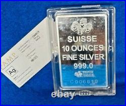10 Oz. Silver Bar Pamp Suisse Lady Fortuna. 999 Silver In Case withAssay