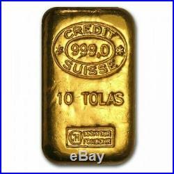 10 Tola Gold Bar PAMP Suisse Bullion 999.9 NEW & SEALED-FREE P&P 116.64 g