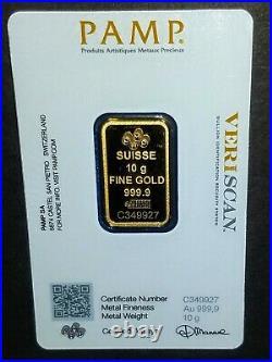 10 g gram Gold Bar PAMP Suisse Fortuna 999.9 Fine in Sealed Assay 24k Invest