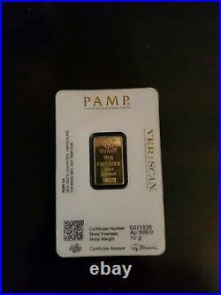 10 gram Bar PAMP Suisse Fortuna 999.9 Fine in Sealed Assay