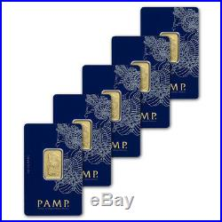 10 gram Gold Bar PAMP Suisse Fortuna 999.9 Fine in Assay Five 5 Bars