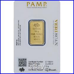 10 gram Gold Bar PAMP Suisse Fortuna 999.9 Fine in Assay Ten 10 Bars