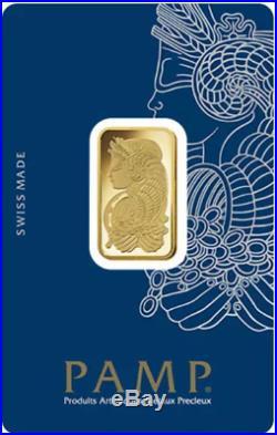 10 gram Gold Bar PAMP Suisse Lady Fortuna Veriscan. 9999 Fine (In Assay)