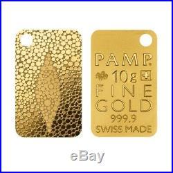 10 gram Gold Bar PAMP Suisse Stingray Skin. 9999 Fine (In Assay)