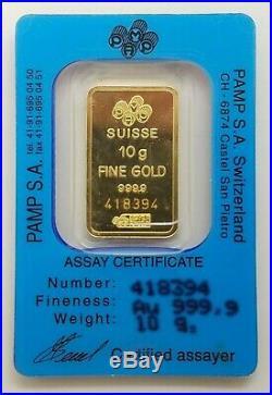 10 gram PAMP Suisse Lady Fortuna Gold Bar. 9999 Fine Certified 418394 In Assay