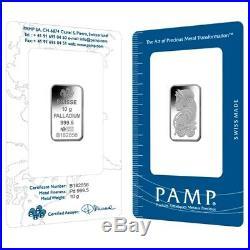 10 gram PAMP Suisse Palladium Bar. 9995 Fine (In Assay)