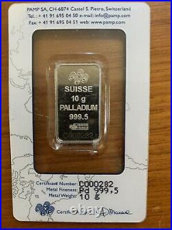 10 grams PAMP Suisse Palladium Bar. 9995 Fine