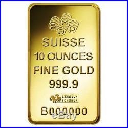 10 oz PAMP Suisse Lady Fortuna Gold Bar. 9999 Fine (In Assay)