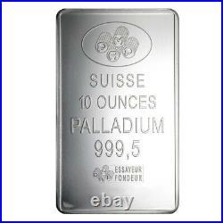 10 oz PAMP Suisse Palladium Bar. 9995 Fine (withAssay)
