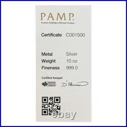 10 oz PAMP Suisse Silver Cast Bar. 999 Fine (withAssay)