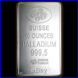 10 oz Palladium Bar PAMP Suisse (withAssay) SKU #1119