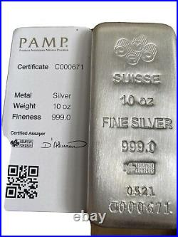 10 oz Silver Bar PAMP Suisse Cast. 999 Fine with Assay