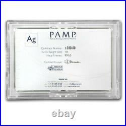 10 oz Silver Bar PAMP Suisse Fortuna In Capsule withAssay