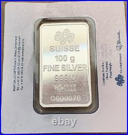 100 Gram. 999 Silver Pamp Suisse Rose Bar