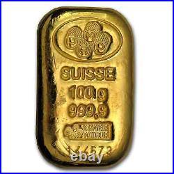 100 gram Gold Bar PAMP Suisse (Cast, withAssay) SKU #45792