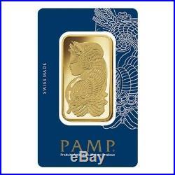 100 gram Gold Bar PAMP Suisse Lady Fortuna Veriscan. 9999 Fine (In Assay)