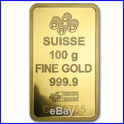 100 gram Gold Bar PAMP Suisse Lady Fortuna Veriscan (In Assay) SKU #88805