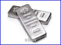 100 oz PAMP Suisse Silver Cast. 9999 Fine Silver Bar