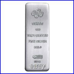 100 oz PAMP Suisse Silver Cast Bar. 999 Fine (withAssay)