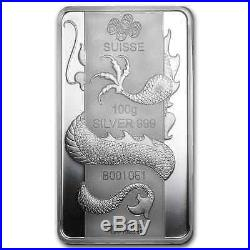 100GRAMS. 9999 SILVER YEAR of the DRAGON PAMP SUISSE SEALED BAR $158.88