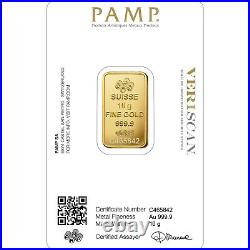 10g gold bar Pamp, brand new, mint condition, QR code verification available