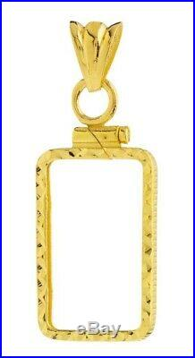14K Gold Screw Top Diamond Cut Bezel Fits Pamp Suisse Fortuna 5 Gr Veriscan Bar