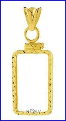 14K Gold Screw Top Diamond Cut Bezel For Pamp Suisse Fortuna 1 Gr Veriscan Bar
