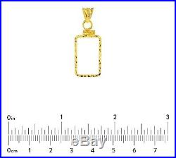 14K Gold Screw Top Diamond Cut Bezel For Pamp Suisse Fortuna 2.5 Gr Veriscan Bar