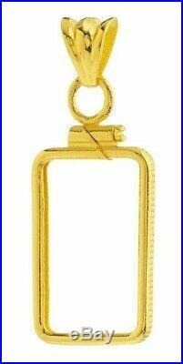 14K Gold Screw Top Plain Bezel Fits Pamp Suisse Fortuna 1 Gram Veriscan Bar