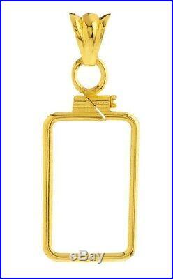 14K Gold Screw Top Plain Bezel Fits Pamp Suisse Fortuna 2.5 Gram Veriscan Bar