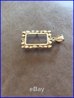 14K Pretty Yellow Gold 1.8 Gram Nugget Frame for 1 Gram Gold Pamp Suisse Bar