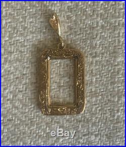 14K Pretty Yellow Gold Flat Nugget Frame for 1 Gram Gold Pamp Suisse Bar