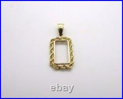 14K Pretty Yellow Gold Rope Frame for 1 Gram Gold Pamp Suisse Bar