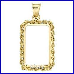 14k Gold 4 Prong Rope Bezel frame for 1 gram Pamp Suisse Fortuna Gold Bar